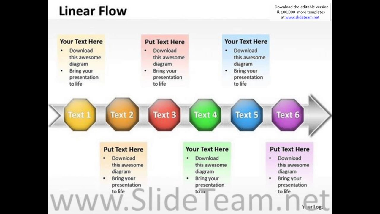 ppt linear flow actions communication process powerpoint, Modern powerpoint