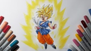 Drawing Kid Goku Super Saiyan - Dragon ball GT