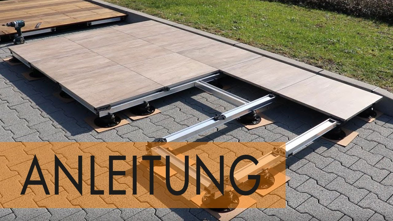 Anleitung Steinterrasse mit Unterkonstruktion aus Aluminium bauen