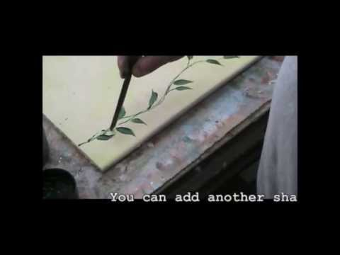 Decorative Wall Painting - Wash And Leaves Technique