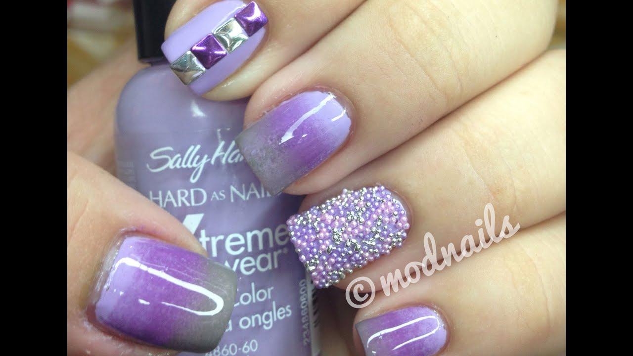 Purple Gradient, Studs, and Caviar Nail Tutorial - YouTube