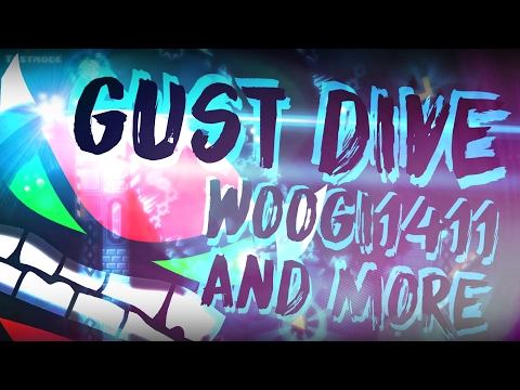 [2.1] Geometry Dash - Gust Dive (Hard Demon) - by WOOGI1411 and more (3 coins)
