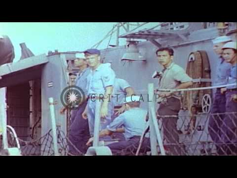 Salvage and recovery operations aboard damaged USS Frank E. Evans (DD-754) at Sub...HD Stock Footage