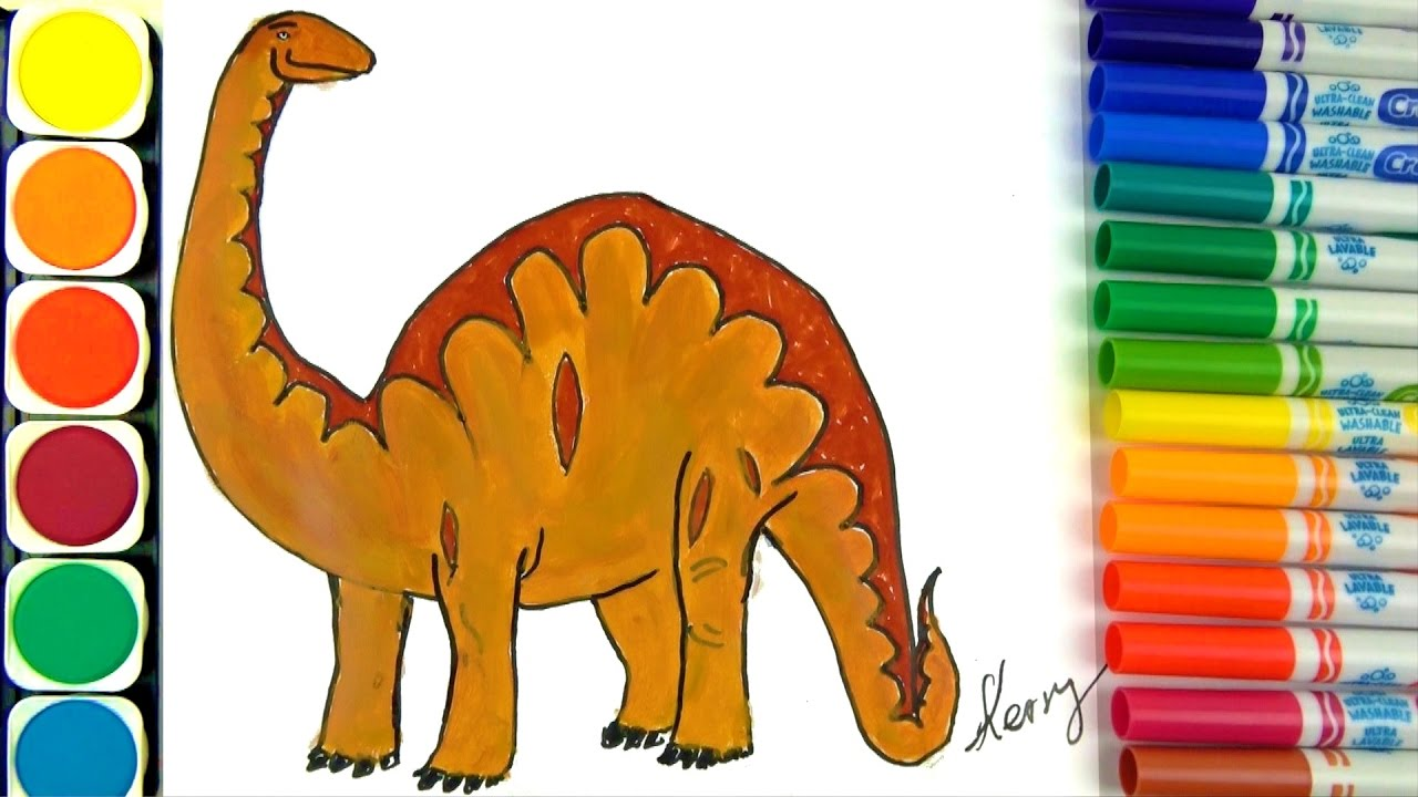How To Draw Dinosaurs Coloring Pages Learning Colors For Kids