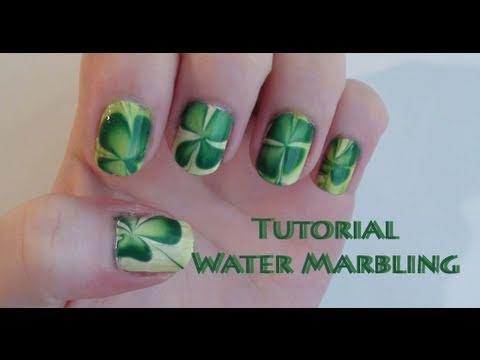 Tutorial St Patricks Day Clover Nail Art Water Marbling Youtube