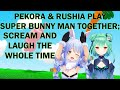 Pekora & Rushia play Super Bunny Man, fight over Flare, try to do deep voices & talk about being S/M