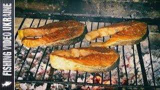 Стейки лосося на мангале | FishingVideoUkraine