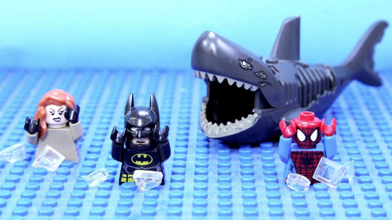 Lego Batman Spiderman Swimming Shark Attack - NEW - YouTube