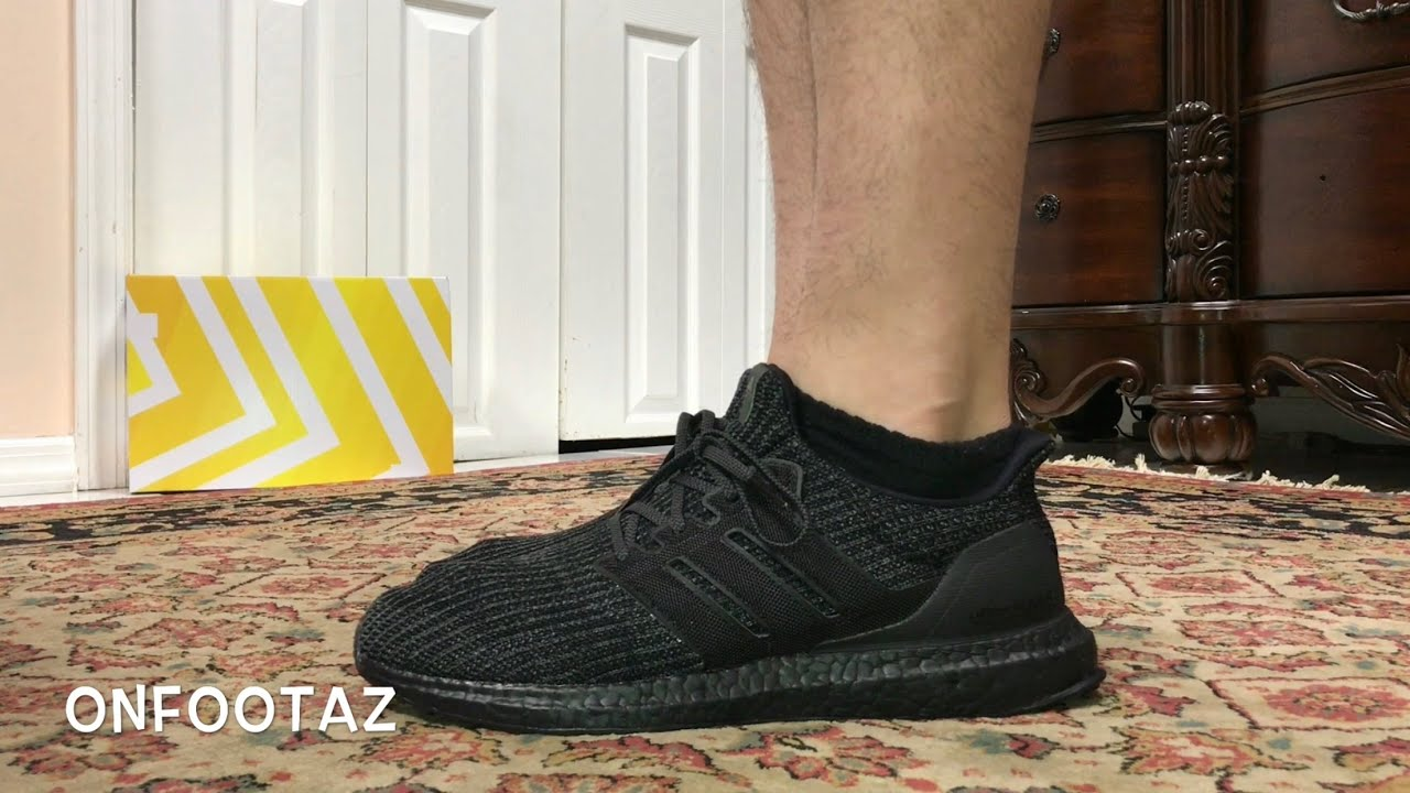 cf05602f32dd7 Adidas Ultra Boost 4.0 Triple Black On Foot - YouTube