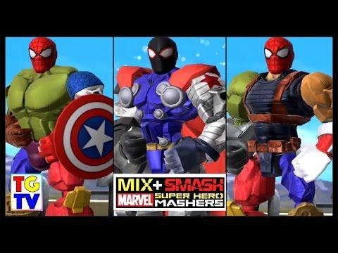 Marvel Super Hero Mashers Spider-Man Captain America (Battles Edited) | Mix + Smash