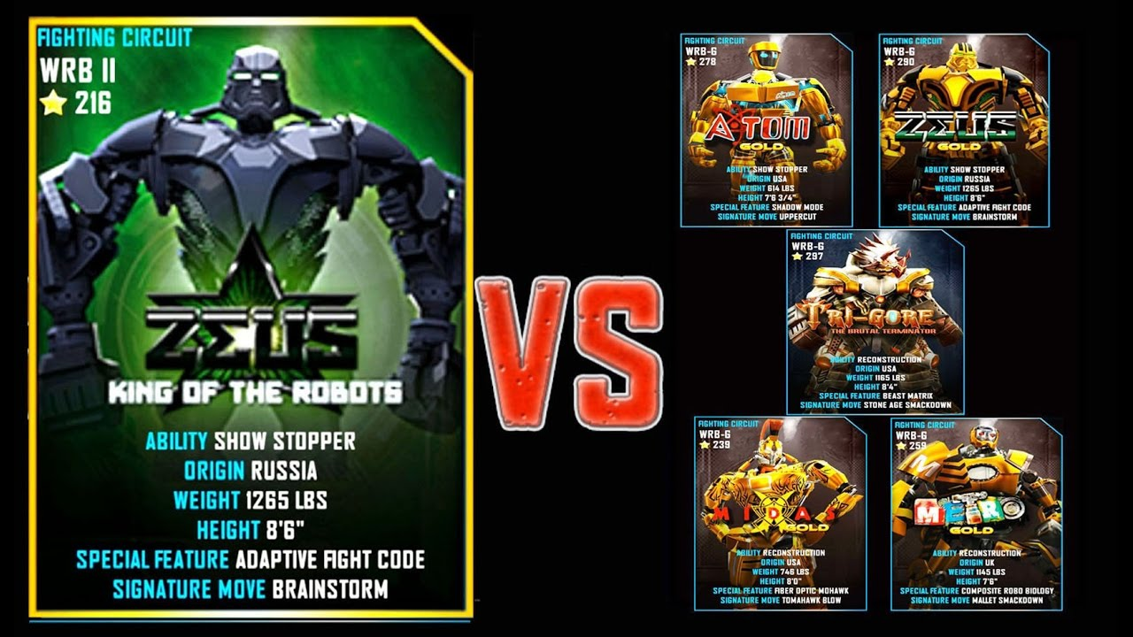 real steel wrb zeus (champion) vs pro gold robots series of fights