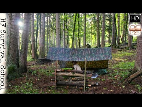 Solo Overnight Bushcraft - Cooking Bannock , Dog , Flint and Steel fire , Food  -  HD Video