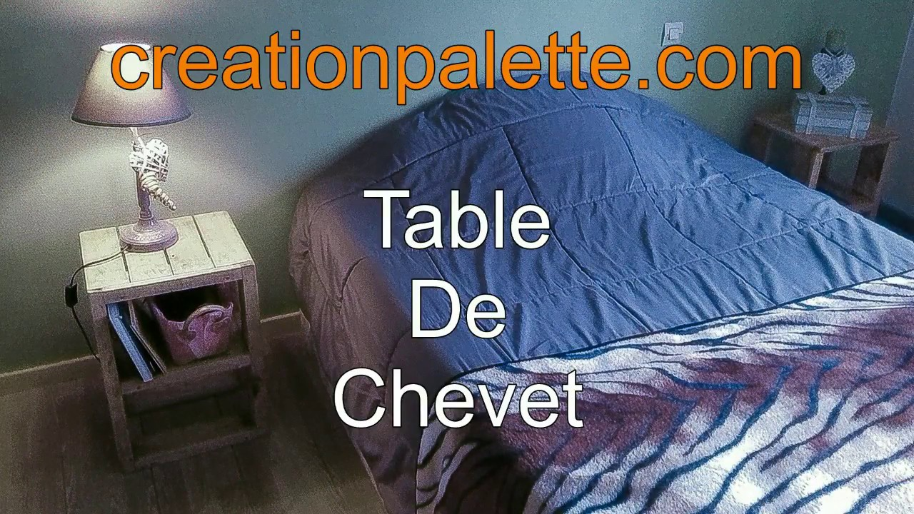 comment fabriquer une table de chevet en palette youtube. Black Bedroom Furniture Sets. Home Design Ideas