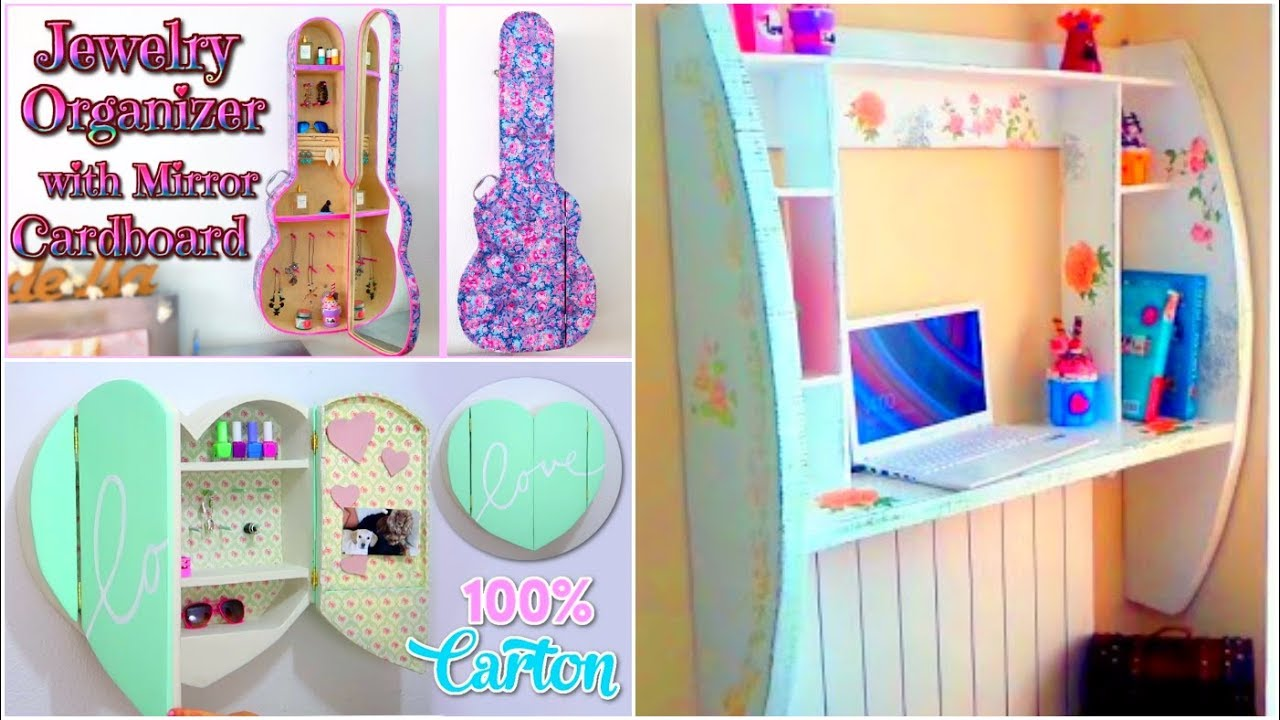 Diy crafts for room decor 3 cardboard furnitures diy room for Diy room decorations youtube