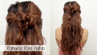 Cute Holiday Hairstyle for Medium Long Hair l Braided Flower Rose Half Up Half Down Hair Tutorial