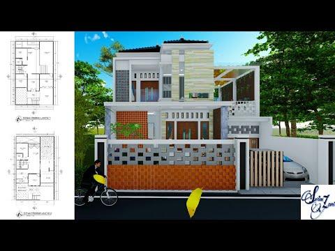 desain rumah 2 lantai split level 1,2m kolam renang di