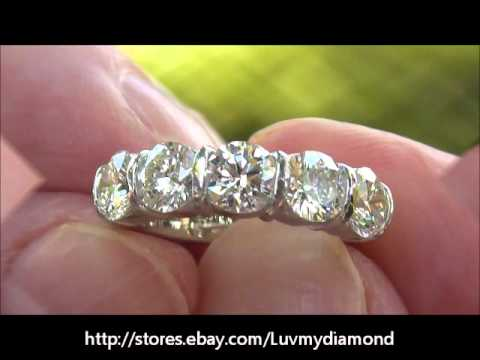 Vintage 2 52ct Large Diamond 5 stone Anniversary Ring Platinum 18K ...