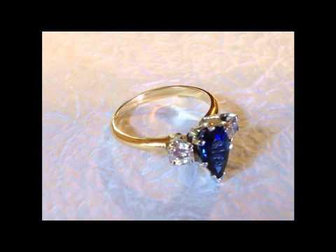 Tristen Vintage Blue Sapphire Diamond Engagement Ring  Dana Walden Bridal