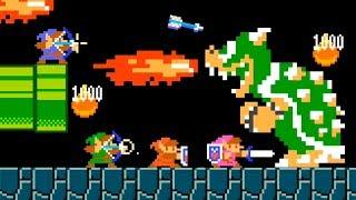 4 LINKs vs BOWSER | Super Mario Maker 2 Multijugador