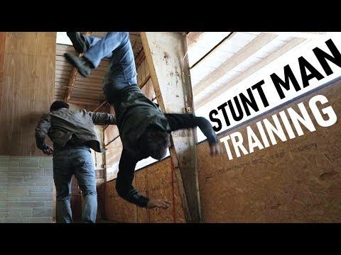 stunt-man-training- -gun-fight,-wrecks,-parkour