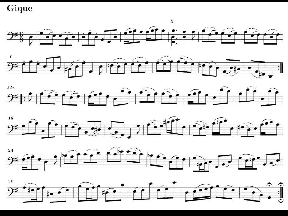 Guitar bach cello suite 1 guitar sheet music : J.S. Bach. Cello. Suite nº 1 en Sol M BWV 1007. Gigue. Partitura E ...
