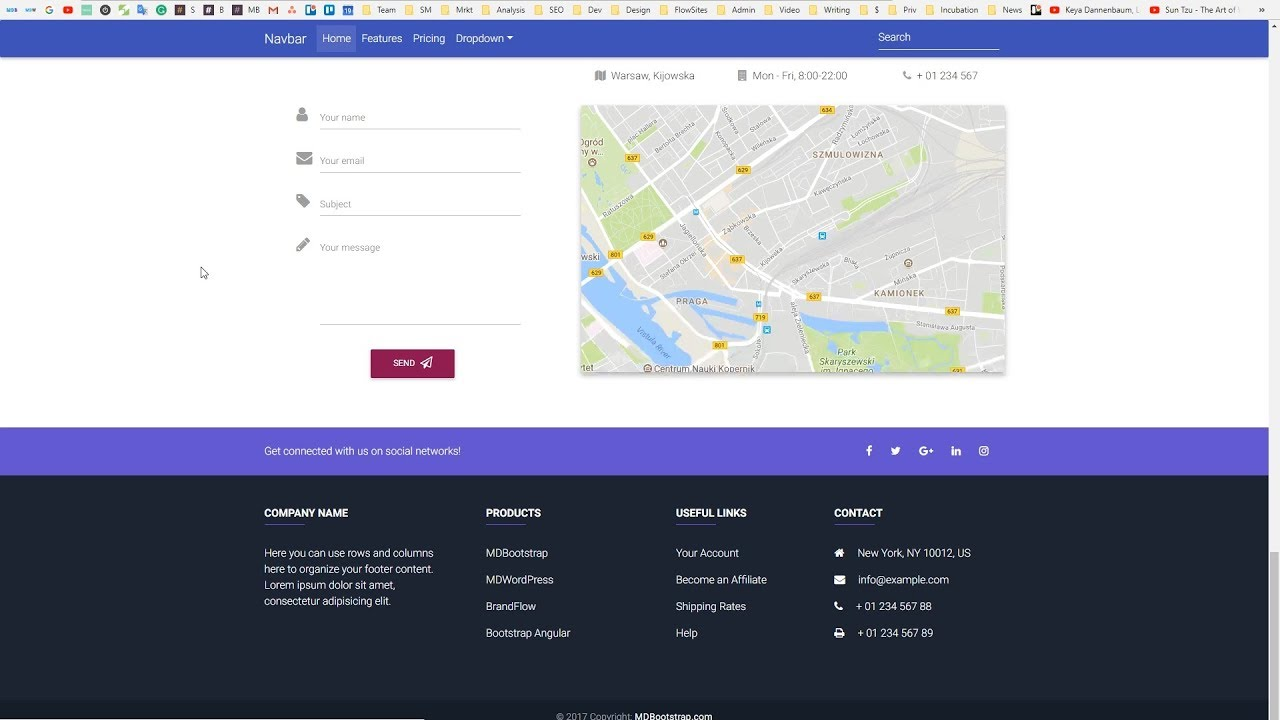 how to create a footer with bootstrap