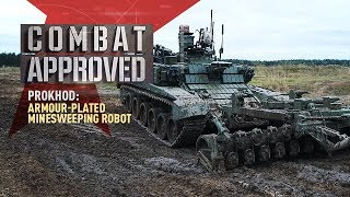Prokhod: Armour-plated Minesweeping Robot. Remote bomb-neutralizing & movement in automatic mode