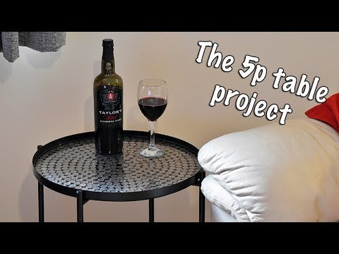 The 5p Table Project, creating a table from 5p coins and epoxy resin