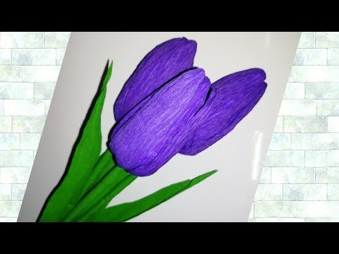 How To Make Tulip Paper Flower From Crepe Paper Tulip Paper Flower Paper Craft Youtube