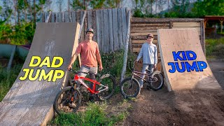 Building our NEW Backyard Dirt Jump Line with my Kids