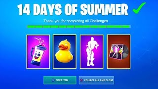 *NEW* 14 DAYS OF SUMMER CHALLENGES FREE REWARDS, NEW SKINS, NEW LTM (Fortnite Battle Royale)