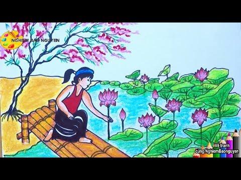 Vẽ tranh Cô gái hái sen