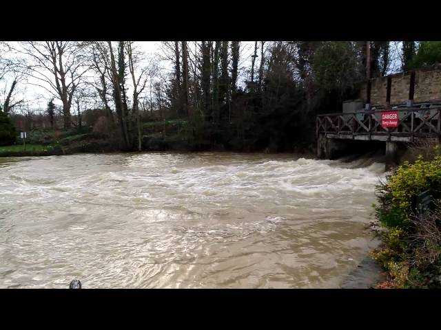 Fast flow river at The Trout Inn, Wolvercote, Oxford