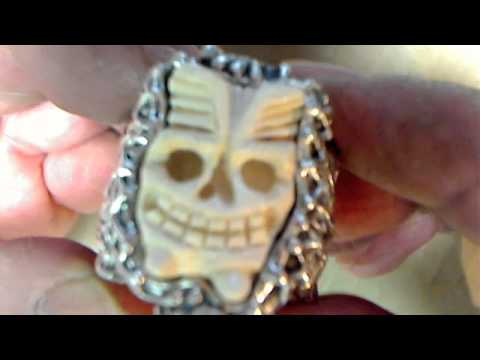 Tiki Skull Bamboo Silver and Mammoth ivory ring with scorpion by RXVrings.com memento mori
