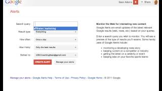 Affiliates Marketing - Setting up a Google Alert
