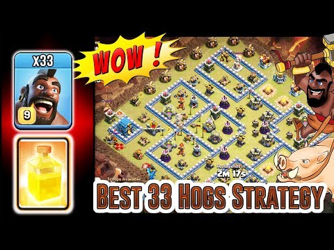 The Best 33 Hogs Atack Strategy 3 Stars Max TH12 & Any Hogs Attack In Clash Of Clans