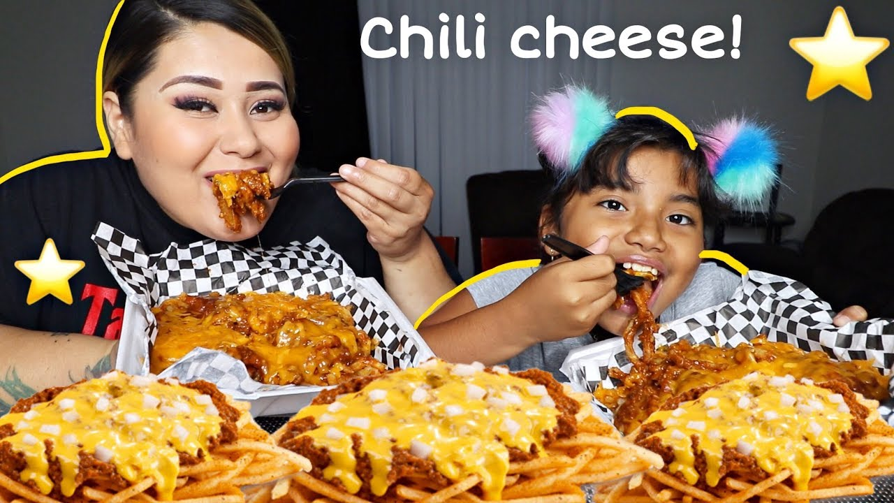 Cheesy Chili Cheese Curly Fries Mukbang Eating Show Tastee Motive Chili Cheese Fries