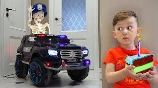 Senya surprising skeleton with a new police car