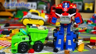 Transformers Rescue Bots Toy UNBOXING: Bulldozer Boulder + Truck Optimus Prime