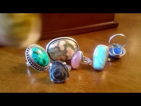 Мои кольца с натуральными камнями.