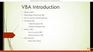 VBA Excel Macro - (1) - Overview