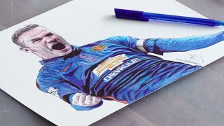 Wayne Rooney Pen Drawing - Manchester United - DeMoose Art