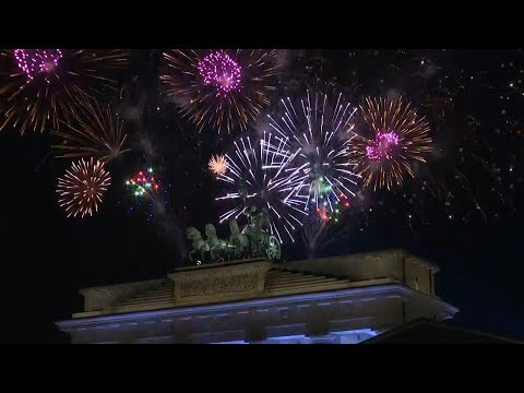 Berlin New Year 2018: fireworks over Brandenburg Gate