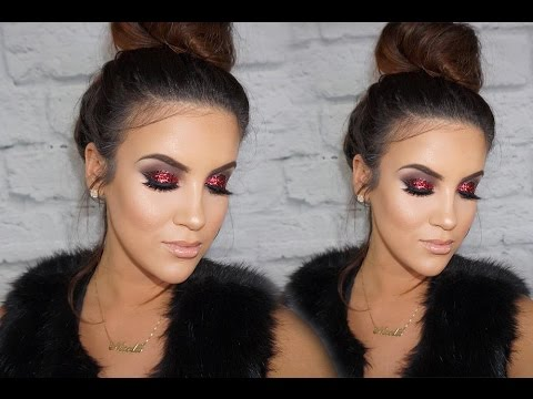 Red Glitter Smokey Eye | Nicole Guerriero