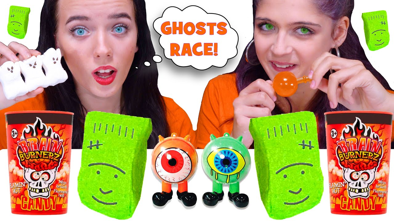 ASMR HALLOWEEN CANDY PARTY! MARSHMALLOW RACE, TIK TOK PUMPKINS, GUMMY NOODLES