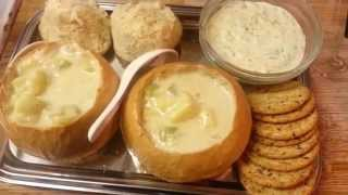 How To Make Bread Bowls With Potato Soup And Spinach Dip