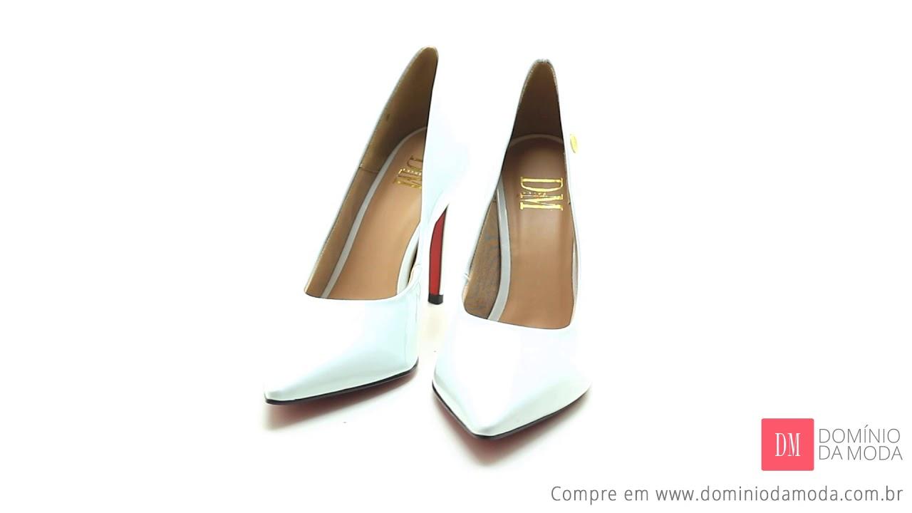 c9ed94bce Scarpin Feminino Tamanho Grande DM Extra Verniz Branco DME189702 Numeração  Especial 39 40 41 42 43
