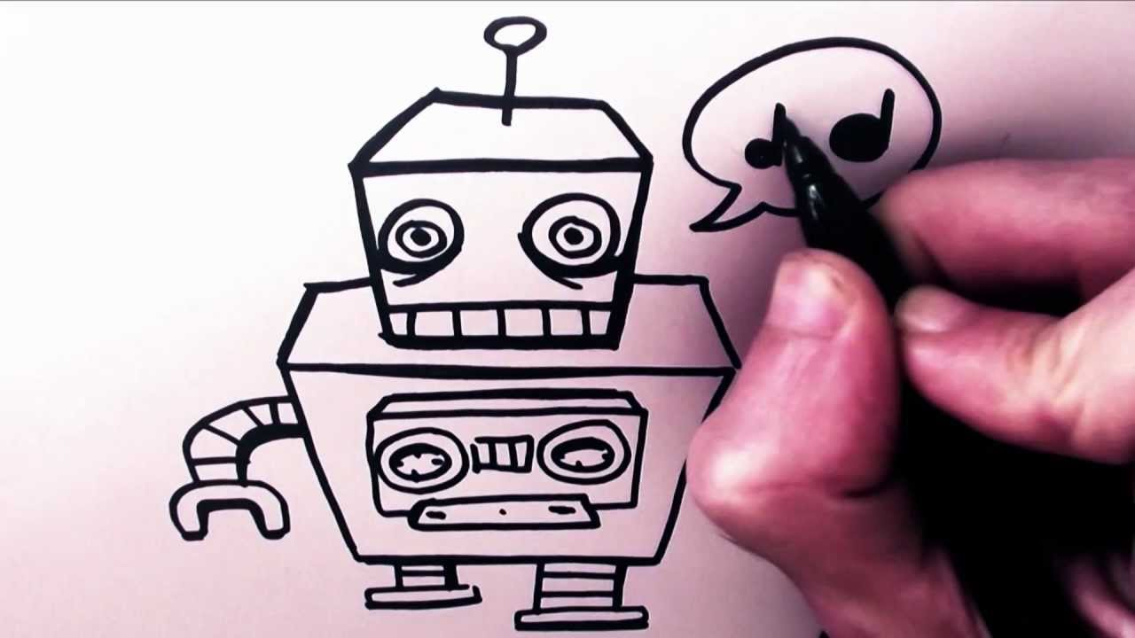 How To Draw A Cartoon Robot By Garbi KW