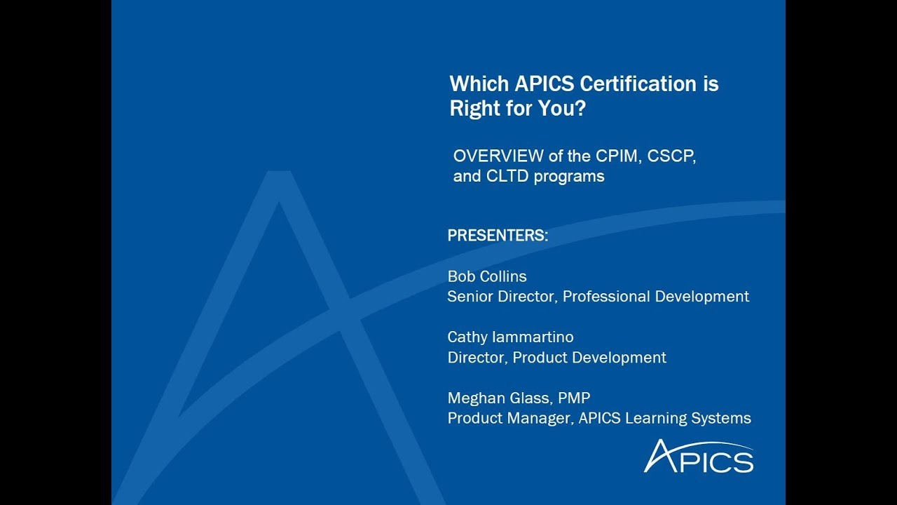 Which Apics Certification Is Right For You Youtube