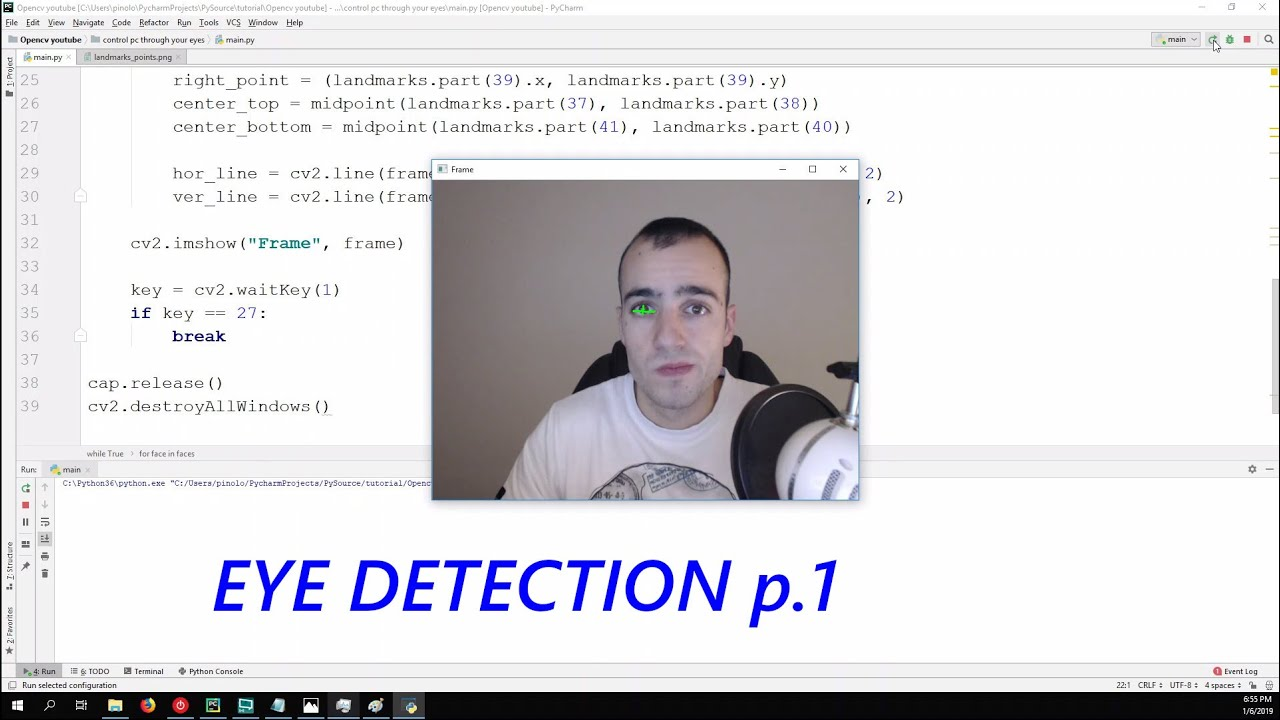 Eye detection - Gaze controlled keyboard with Python and Opencv p 1